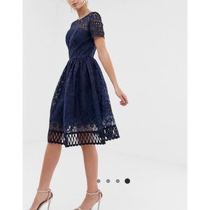 London premium lace dress in navy